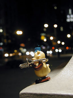 The Commander Trombone mascot busking in New York City