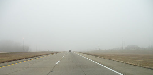 on the road in fog
