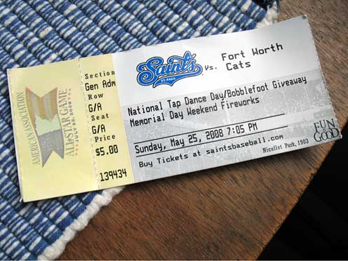 Saint Paul Saints ticket for National Tap Dance Day